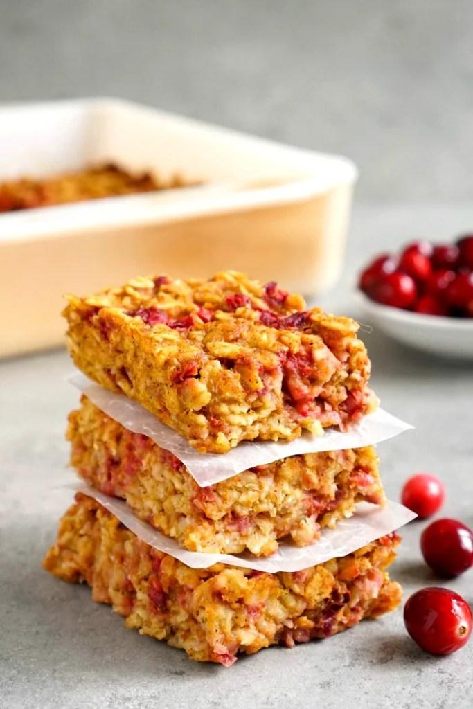 Pumpkin cranberry oatmeal bars
