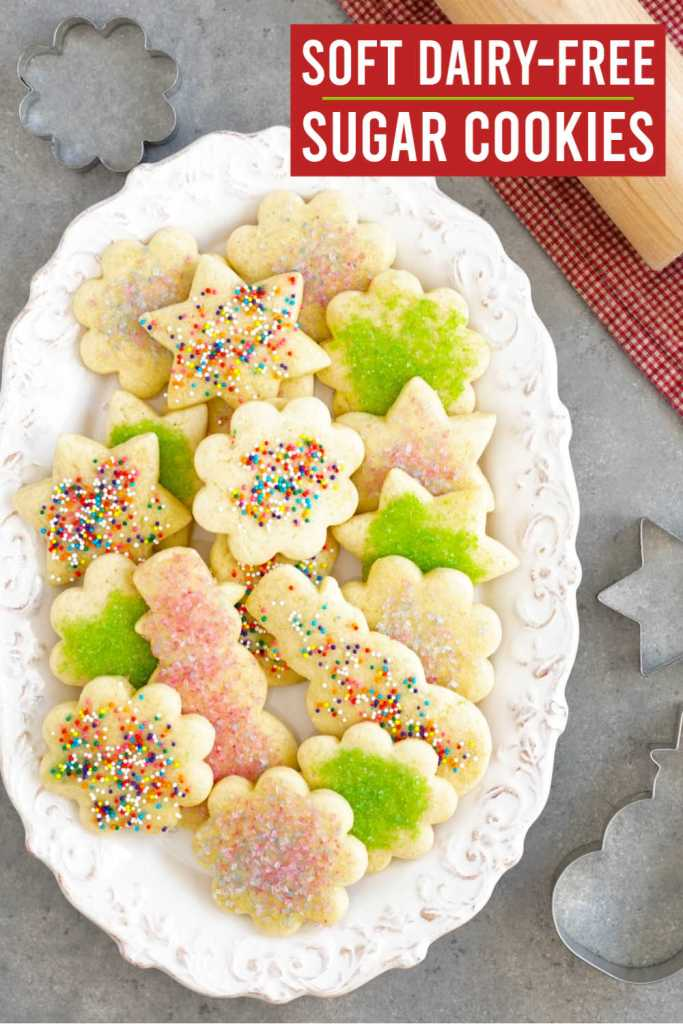These soft dairy free sugar cookies are made with coconut oil and gluten free flour.