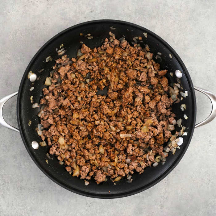 Browned ground beef and onion with taco seasoning