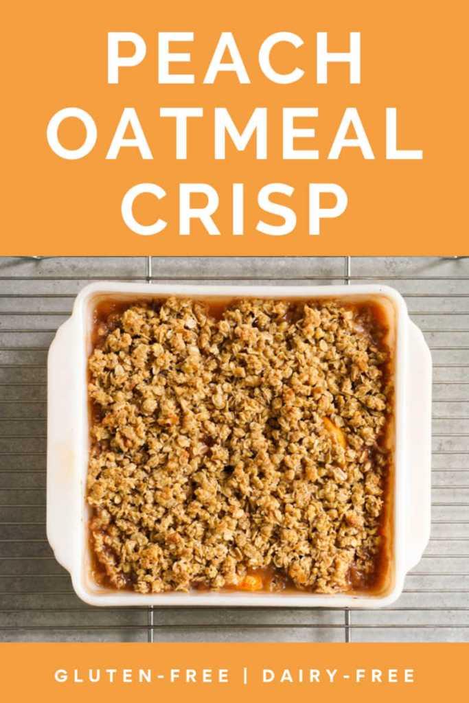 peach oatmeal crisp on a cooling rack