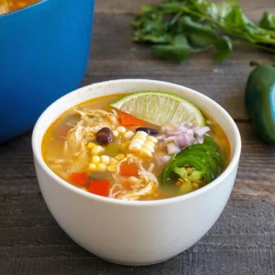 Southwestern chicken soup full of veggies