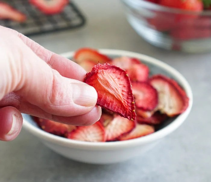 Dehydrated strawberry up close