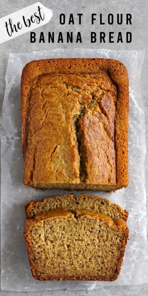 Oat flour banana bread loaf with slices
