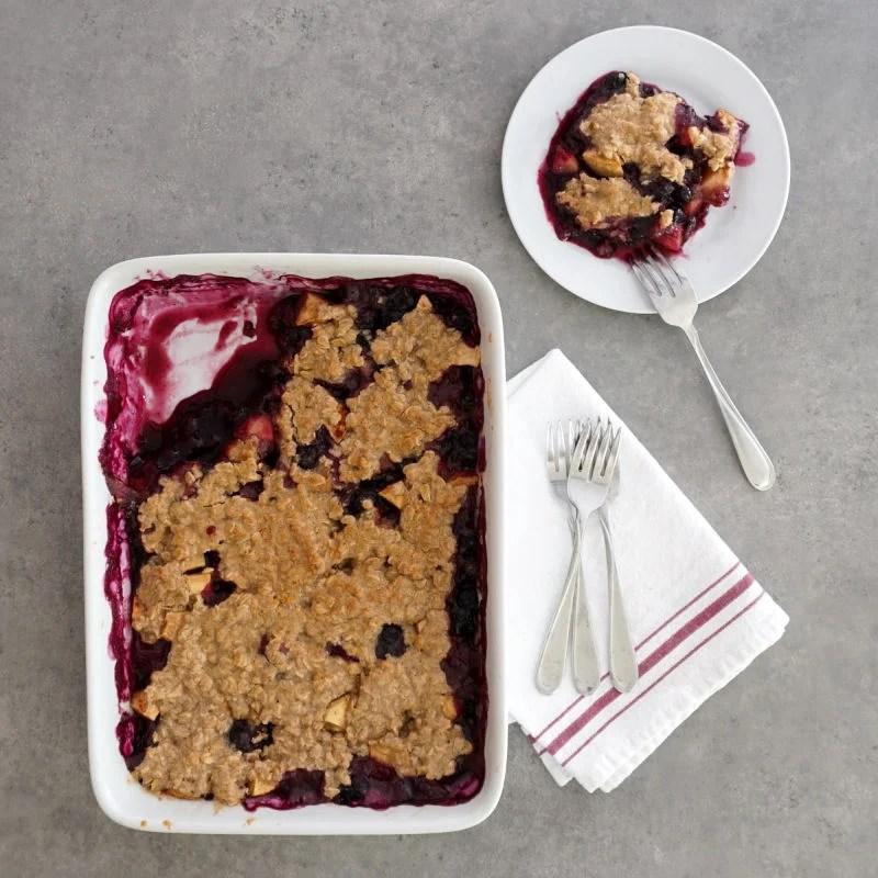 Apple blueberry crisp in pan
