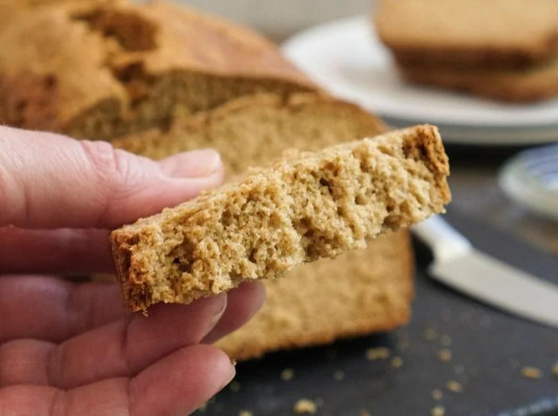 Gluten free oat bread cut piece