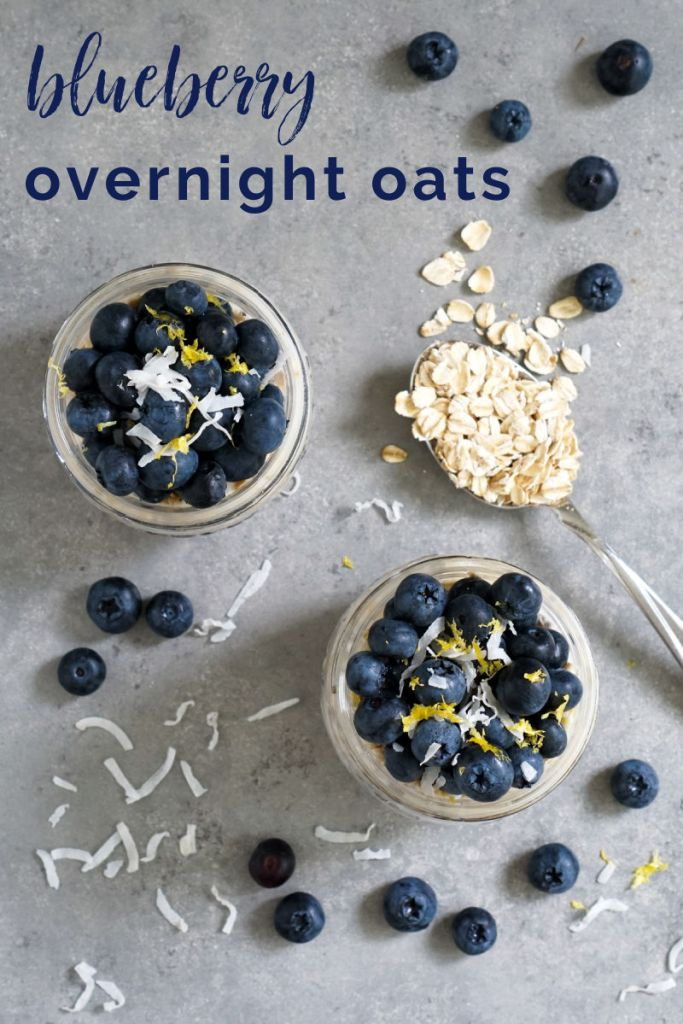 Blueberry overnight oats from above