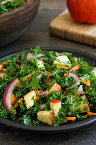 Kale apple salad on a plate