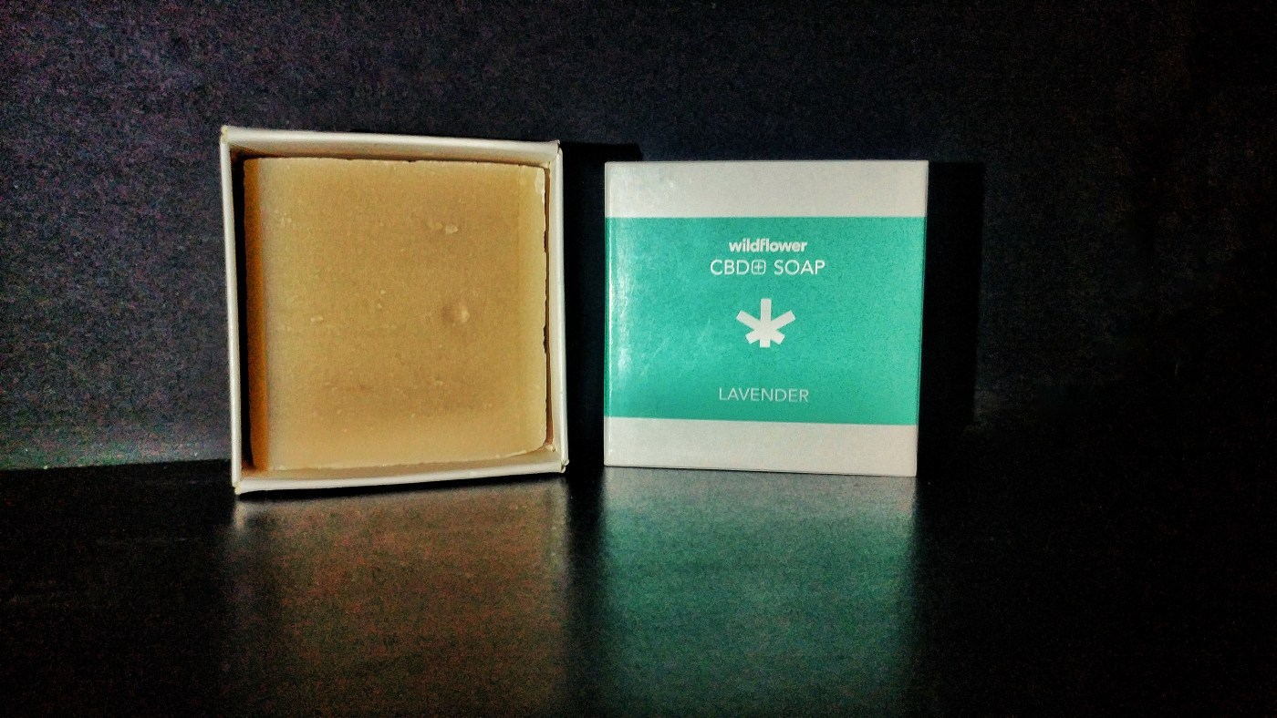 cbd infused soap with lavender and vanilla essential oils in a square box