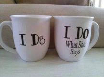 Matching 'I Do' coffee cups for happily married couples ...