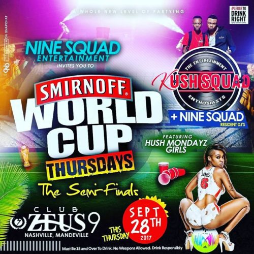KUSH SQUAD AT WORLD CUP THURSDAY'S 28TH SEPTEMBER 2017