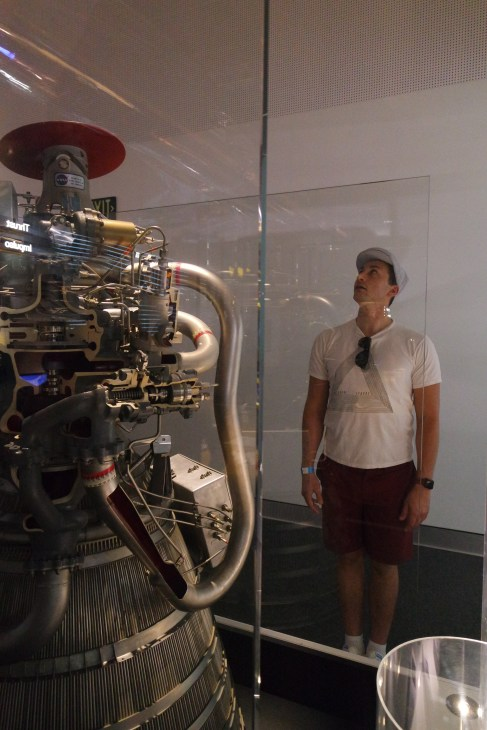 Looking at an Apollo Rocket engine