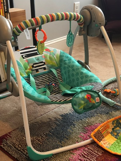 Bright Starts Portable Swing in our loft.