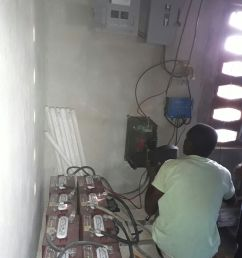 solar panels batteries inverter charge controller wires and lots of other parts and pieces were bought in haiti to complete this system  [ 1200 x 1600 Pixel ]
