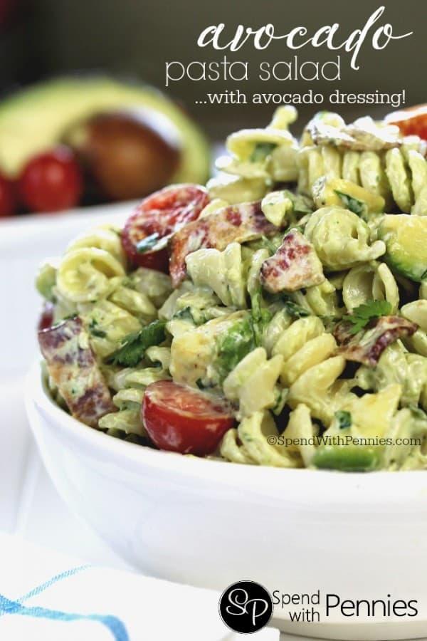 Avocado Pasta Salad - Spend with Pennies