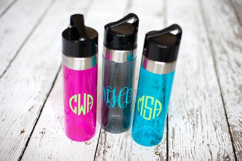monogram plastic water bottle