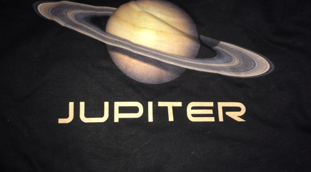 "A picture of Saturn that is labeled ""Jupiter"""