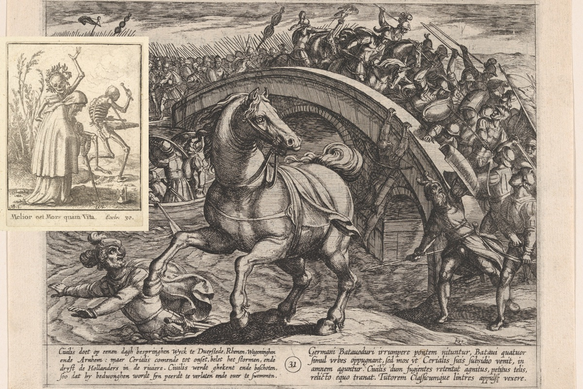 Civilis Forced to Dismount and Swim Across the River (Antonio Tempesta); inset with Death with Old Woman (Wenceslaus Hollar)