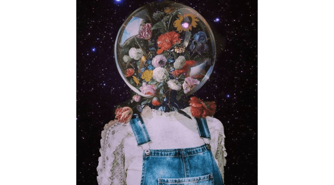Girl with a globe head filled with flowers