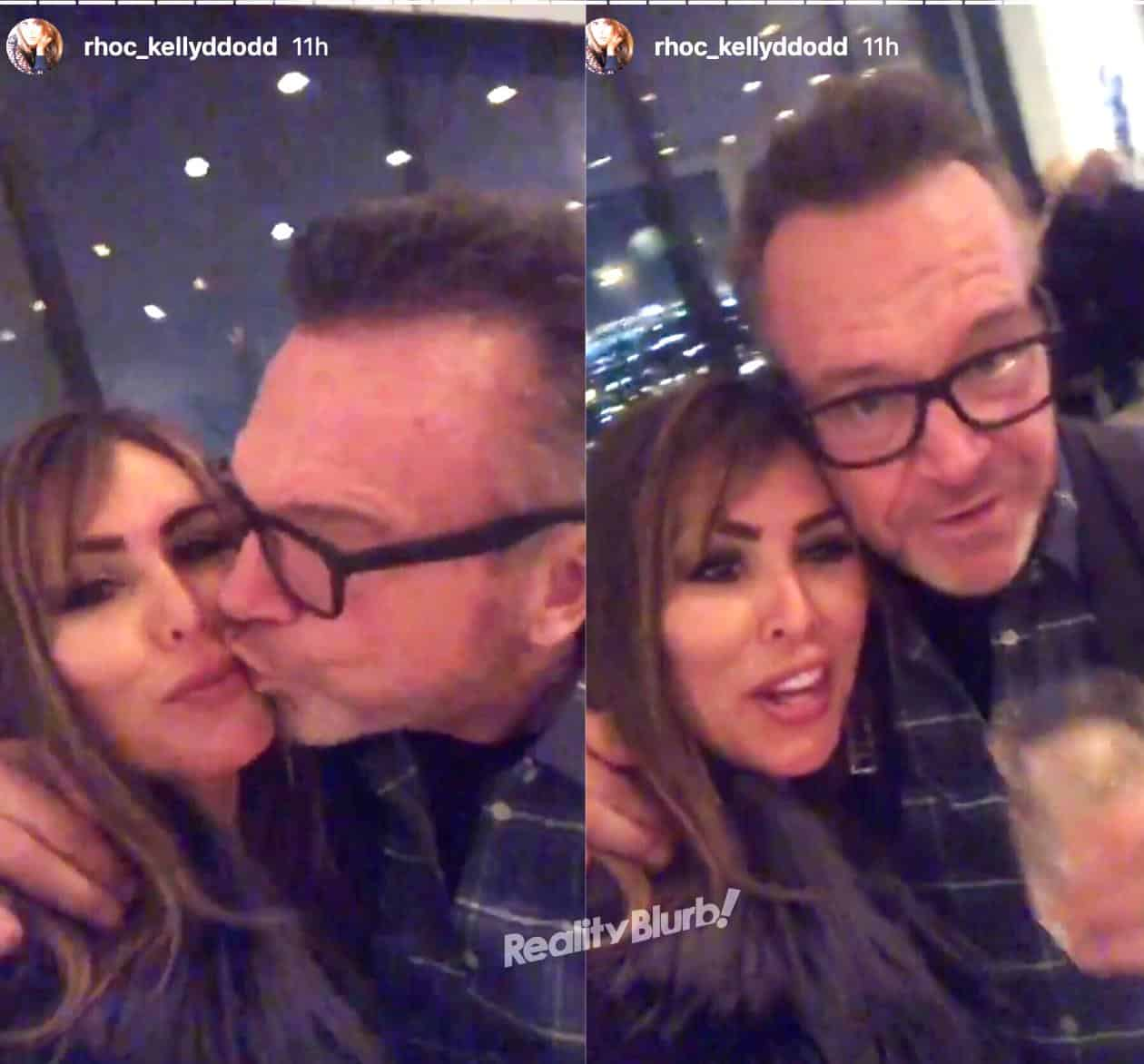 Kelly Dodd and Tom Arnold New Year Kiss