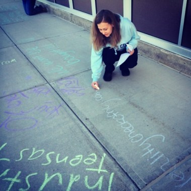 Chalking the walk with tobacco facts at Niskayuna High School