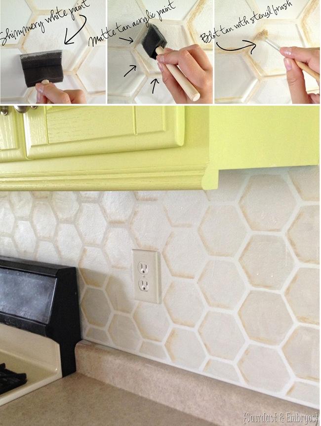how to paint a faux tile backsplash