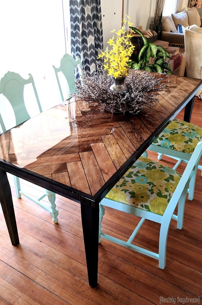 Wooden Herringbone Table with Tapered Legs Reality Daydream