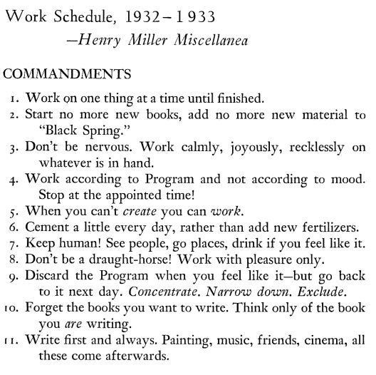 Henry Miller's Commandments for Writing