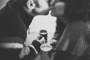 First Kiss over coffee and a table