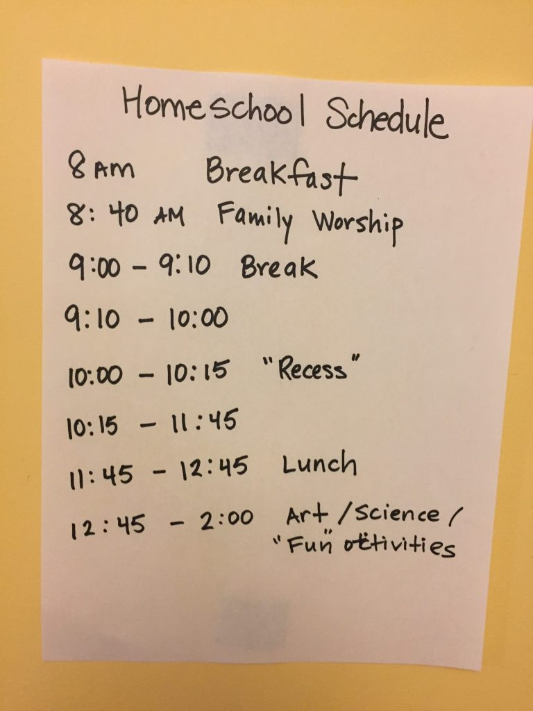 Homeschool schedule during the coronavirus outbreak