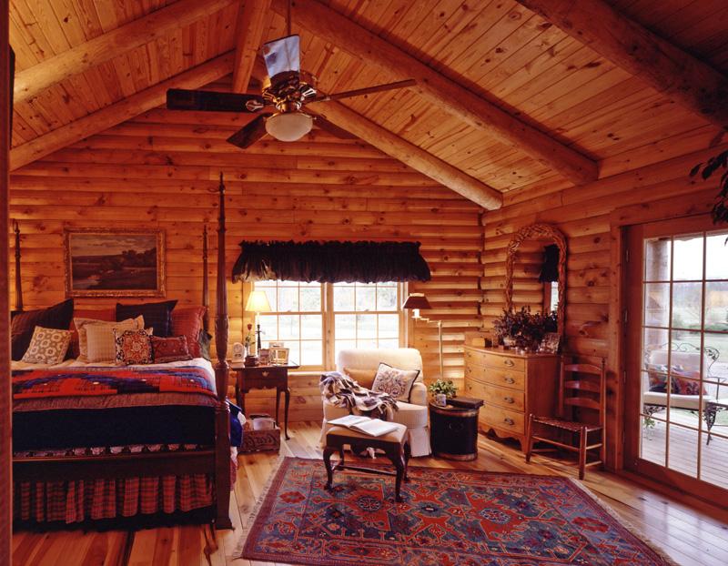 Cozy Up in a Log Home Bedroom