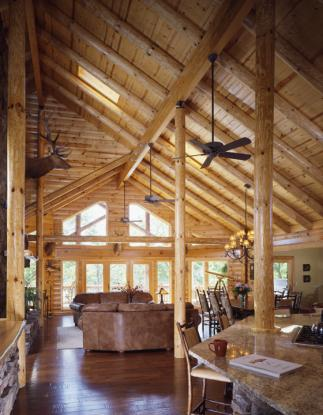 log home kitchens  Real Log Style