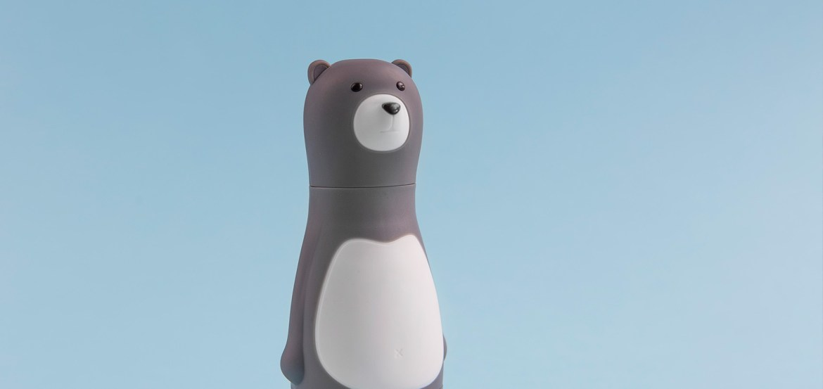 Grey bear on blue background Real Lux