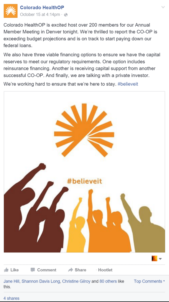 Rachel Moore designed and promoted the Facebook post for Colorado HealthOP