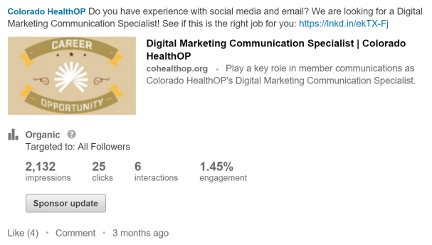 Rachel Moore created a LinkedIn post for Colorado HealthOP to recruit for an open position.