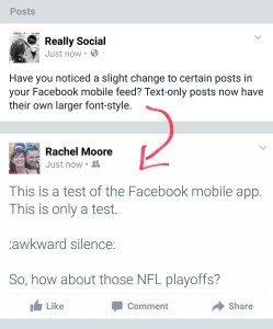Facebook Text-Only Post Screenshot | Really Social