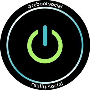 #rebootsocial is Really Social's hashtag for reboot social media (icon)