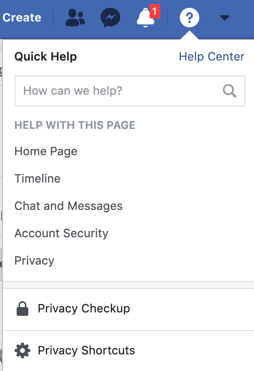 Screenshot of the privacy settings menu from Facebook's top nav bar.
