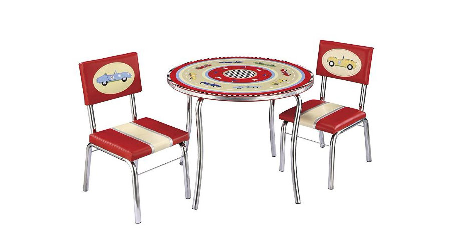 retro tables and chairs yellow chair sashes racers table set really cool