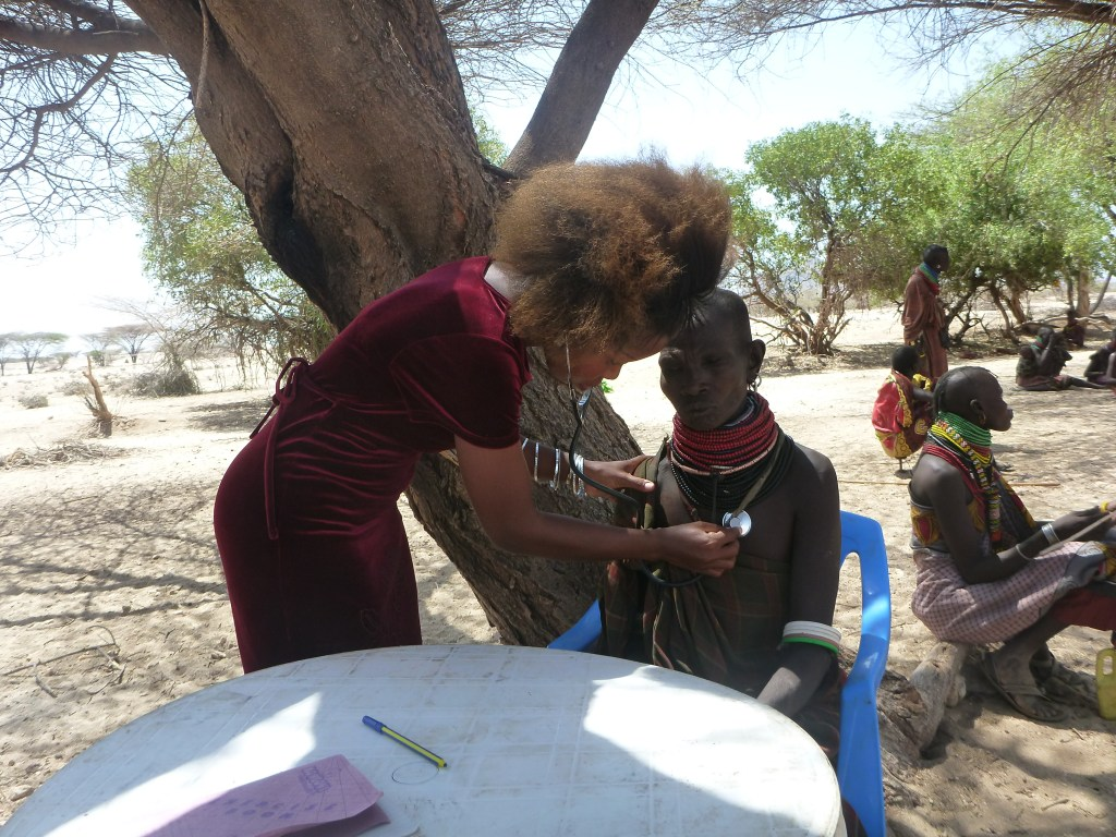 patient examined during an outreach clinic in Nakudet Village