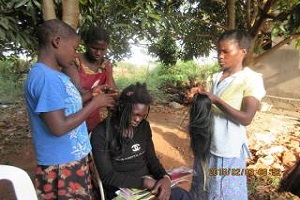 students practicing hairdressing techniques