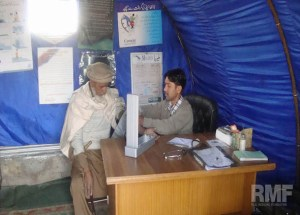 elderly man receiving medical care