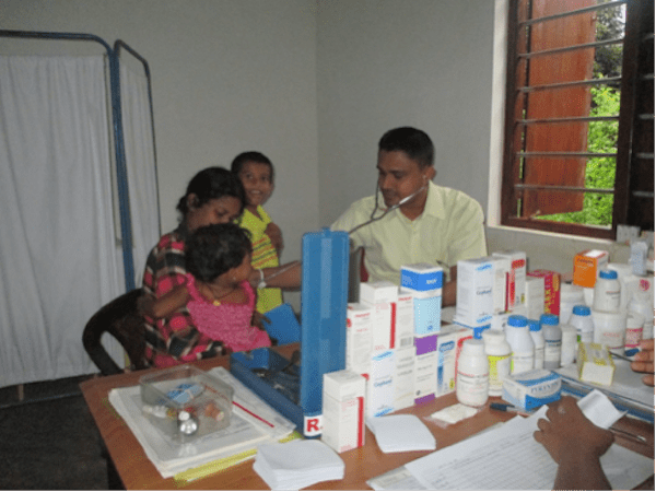 doctor cares for child
