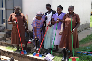 women cleaning in south sudan hospital
