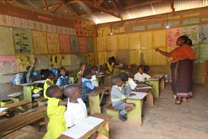 young ugandan students in a classroom