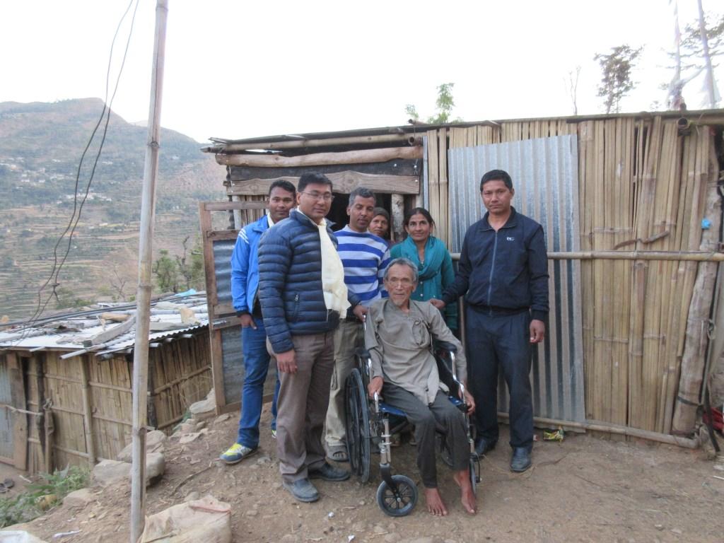 Mr. Kashiman Tamang receiving his wheelchair