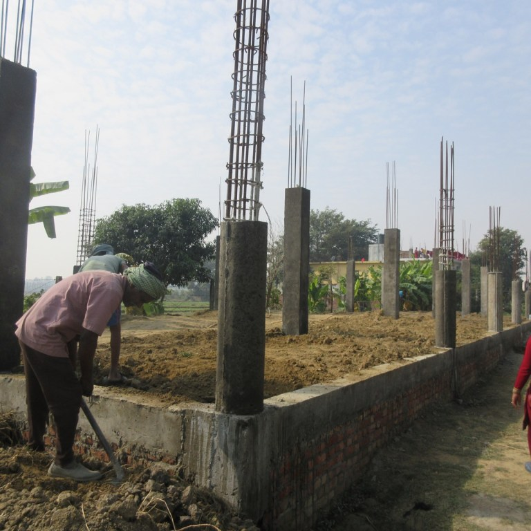 Foundation and support columns of the new school building