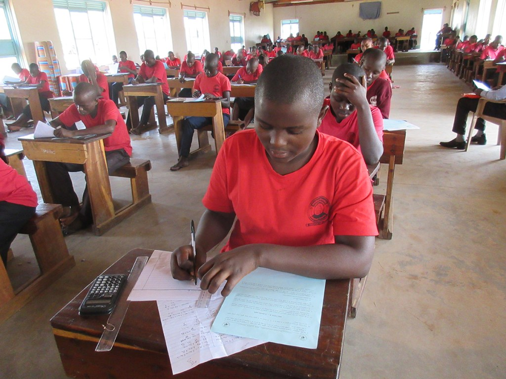 Students taking the examination at the beginning of first term. These tests help the school maintain its academic performance.