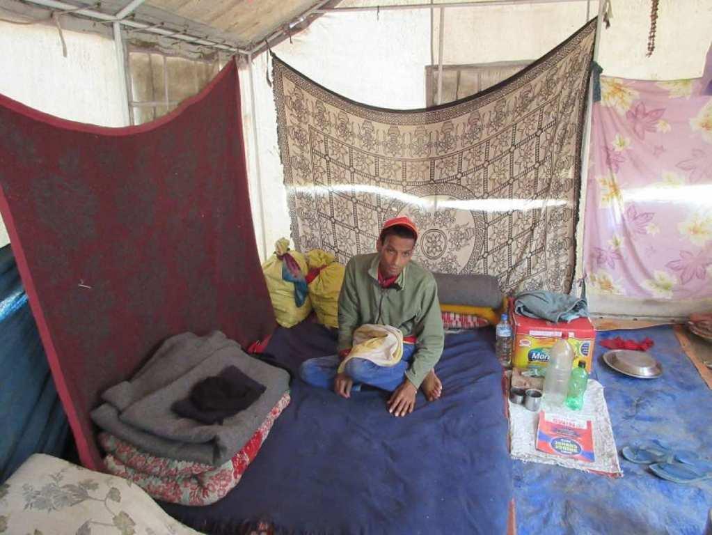Bahrat Bhuttacharya in his tent