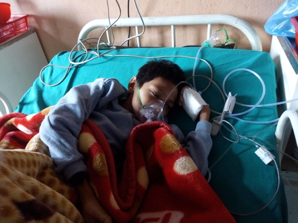 Priti in the hospital on oxygen inhalation