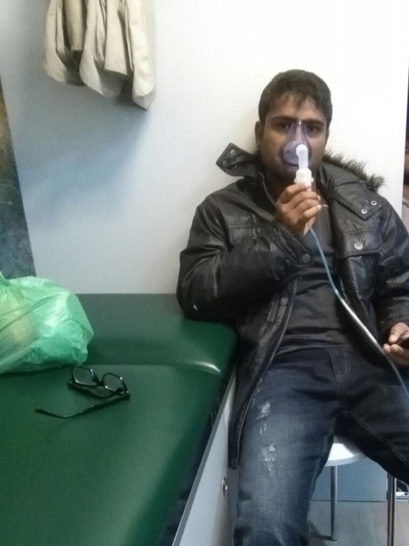 A patient in Obrenovac receiving breathing treatment